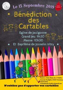 Bénédiction des cartables et Baptême 15/09/19 de 9h30 à 11h30 - Paroisse Notre Dame des 3 Vallées