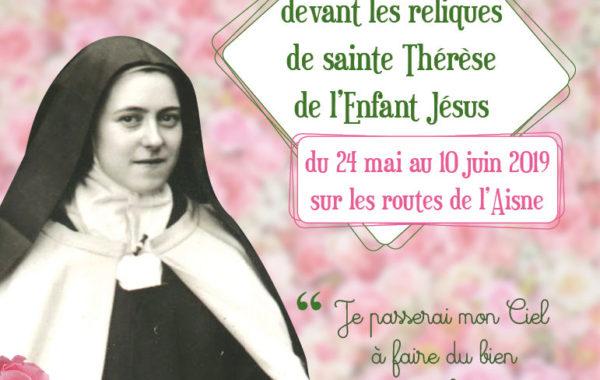 Visuel Pérégrinations des reliques de sainte Thérèse site diocésain
